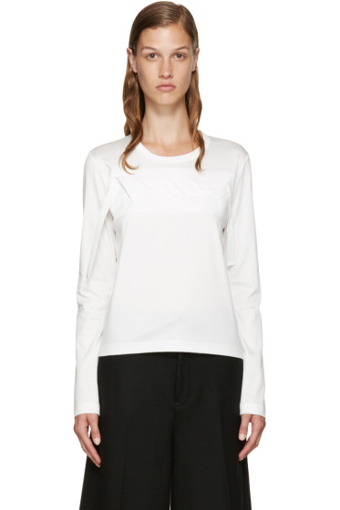Noir Kei Ninomiya - White Leather Ribbon T-Shirt