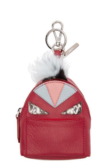 Fendi - Red Fur-Trimmed Charm Wonders Backpack Keychain