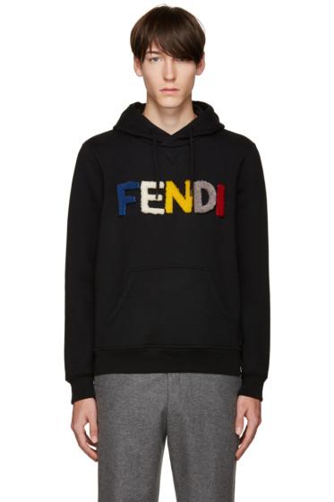 Fendi - Black Shearling Logo Hoodie