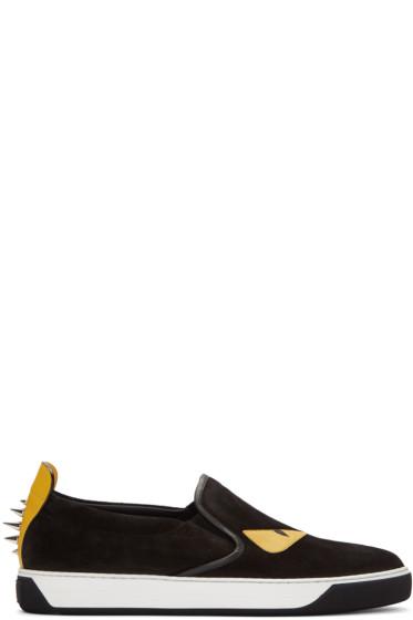 Fendi - Black Studded Monster Sneakers