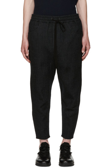Song for the Mute - Grey Pinstripe Drawstring Trousers