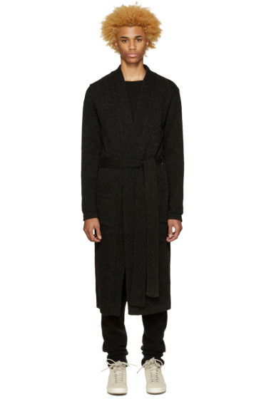 Song for the Mute - Black Long Wool Cardigan