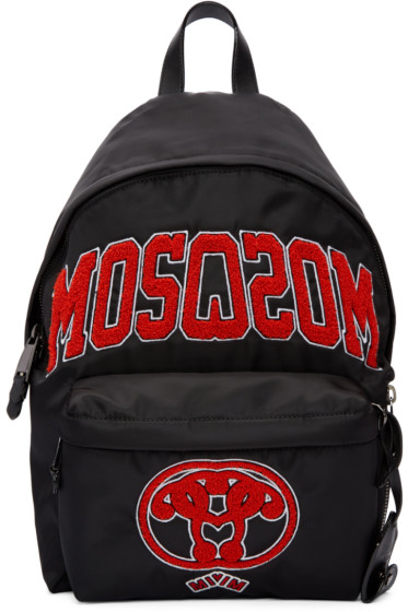 Moschino - Black Embroidered Backpack