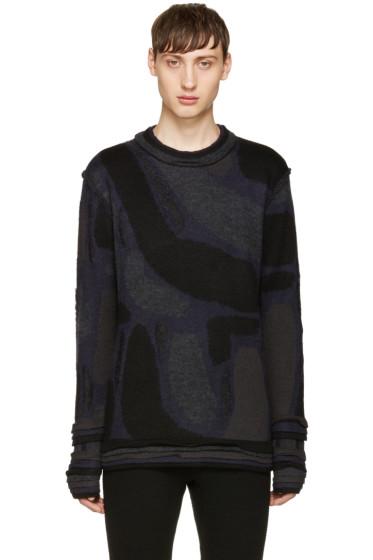 Issey Miyake Men - Black Knit Jacquard Sweater