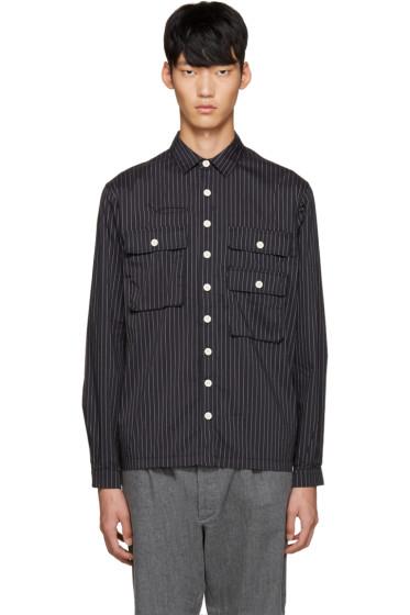 Sunnei - Black Pinstriped Pocket Shirt