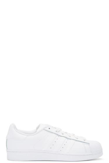 adidas Originals - White Monochromatic Superstar Sneakers