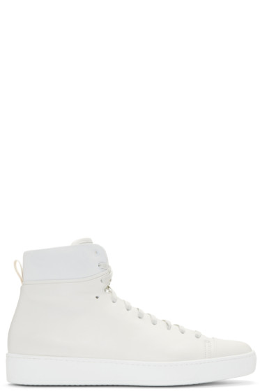 John Elliott - Off-White Leather High-Top Sneakers