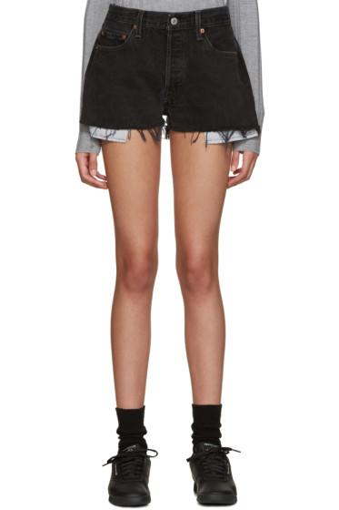 Re/Done - Black Denim Shorts