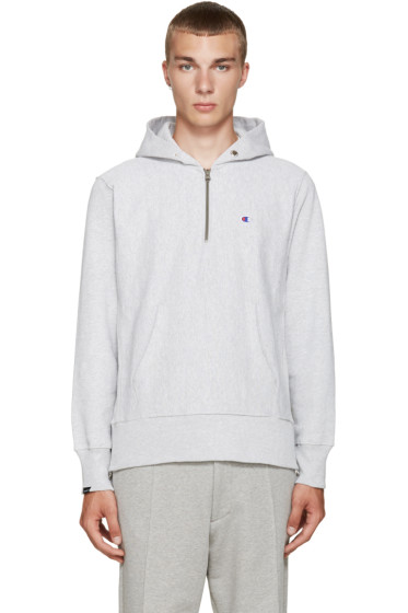 Champion x Beams - Grey Reverse Weave Hoodie