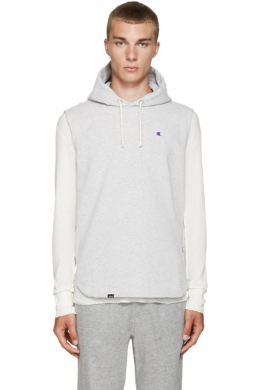 Champion x Beams - Grey Reverse Weave Sleeveless Hoodie