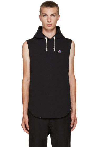 Champion x Beams - Black Reverse Weave Sleeveless Hoodie
