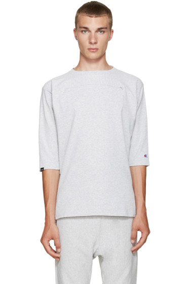 Champion x Beams - Grey Heavy Jersey Zip T-Shirt