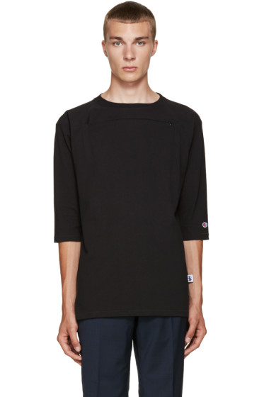 Champion x Beams - Black Heavy JP Jersey Zip T-Shirt