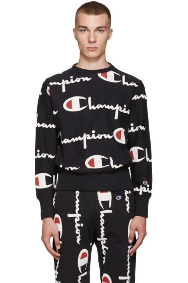 Champion Reverse Weave - Black All Over Logo Pullover