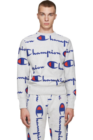 Champion Reverse Weave - Grey All Over Logo Pullover