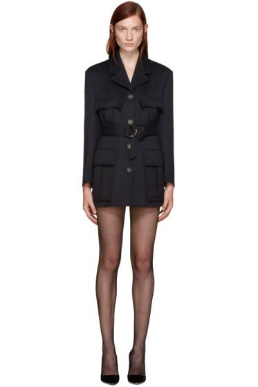 Miu Miu - Navy Wool Belted Blazer