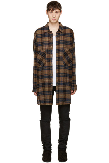 Faith Connexion - Brown Oversized Plaid Shirt