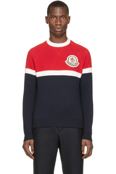 Moncler A - Red & Navy Wool Moncler Sweater