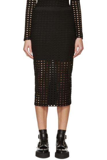 T by Alexander Wang - Black Laser-Cut Skirt