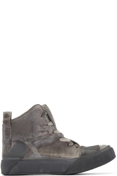 Boris Bidjan Saberi - Grey Leather Bamba 1 High-Top Sneakers