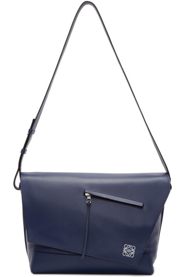 Loewe - Navy Leather Anton Messenger Bag