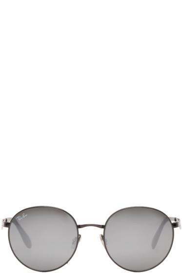 Ray-Ban - Black Round Mirrored Sunglasses