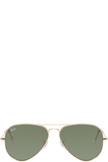 Ray-Ban - Gold & Green Mirrored Aviator Sunglasses