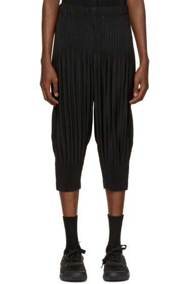 Homme Plissé Issey Miyake - Black Pleated Cropped Lounge Pants