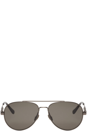 Bottega Veneta - Gunmetal Metal-Frame Aviator Sunglasses
