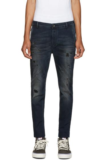 Diesel - Blue Distressed Slim Chino Jeans