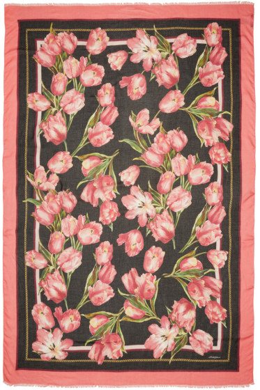 Dolce & Gabbana - Black & Pink Tulip Scarf