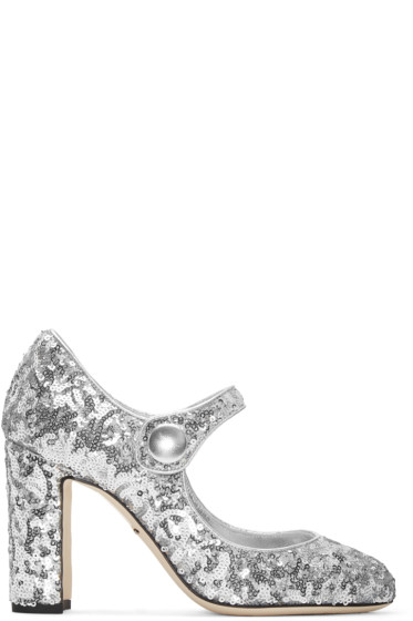 Dolce & Gabbana - Silver Sequinned Mary Jane Heels