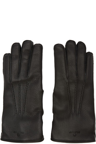 Belstaff - Black Leather Buckle Gloves