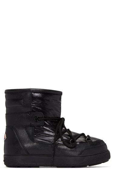 Moncler - Black Leather Fanny Ankle Boots