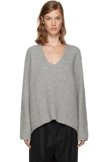Acne Studios - Grey V-Neck Deborah Sweater