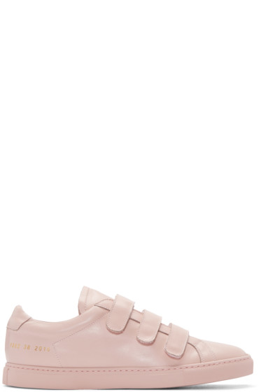 Common Projects - Pink Achilles Three Strap Sneakers