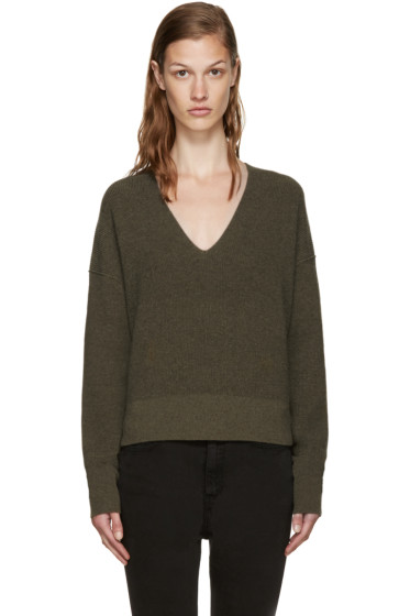 Helmut Lang - Green Cotton & Cashmere Sweater