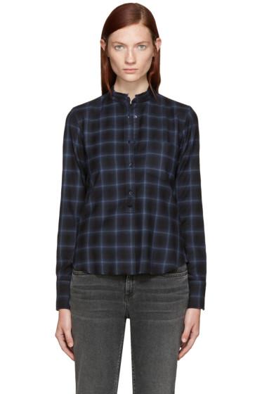 Helmut Lang - Navy Shrunken Plaid Shirt