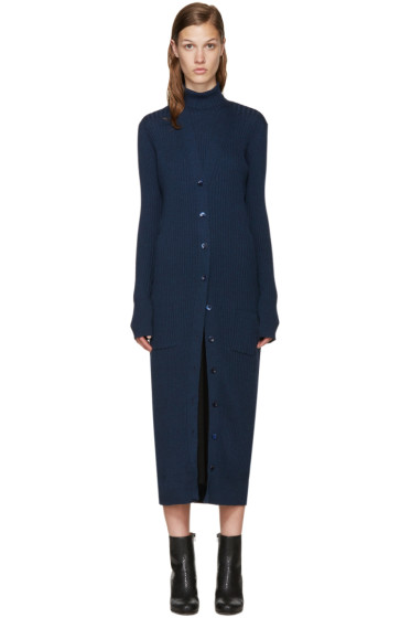 Maison Margiela - Navy Long Wool Cardigan