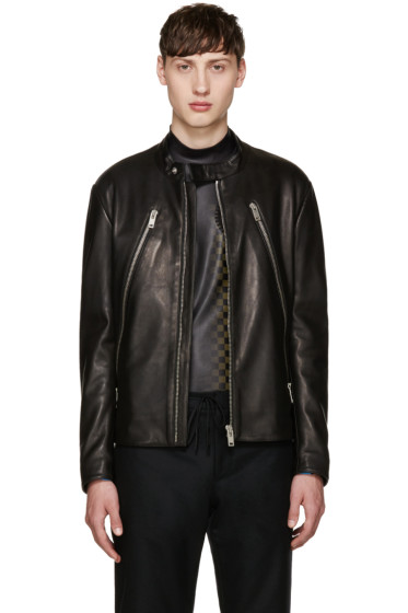 Maison Margiela - Black Leather Zippered Jacket