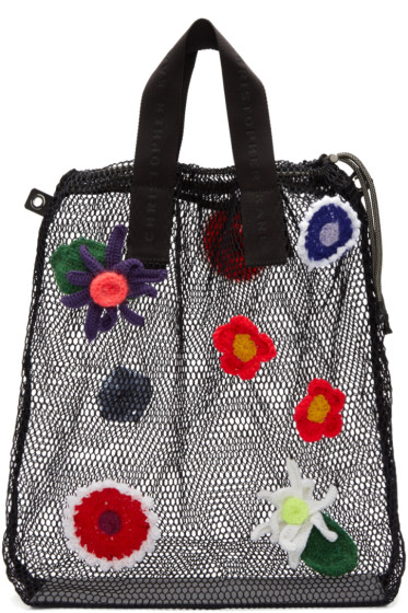 Christopher Kane - Black Crocheted Flower Tote
