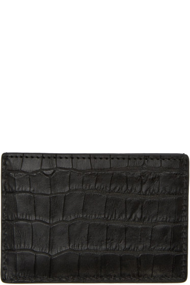 Alexander Wang - Black Croc-Embossed Card Holder