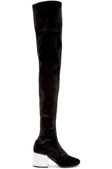 MM6 Maison Margiela - Black Velvet Over-the-Knee Boots
