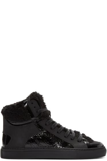 MM6 Maison Margiela - Black Faux-Shearling High-Top Sneakers