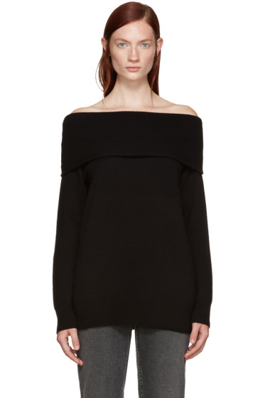 T by Alexander Wang - Black Wool Off-the-Shoulder Sweater