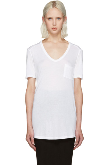 T by Alexander Wang - White Jersey Pocket T-Shirt