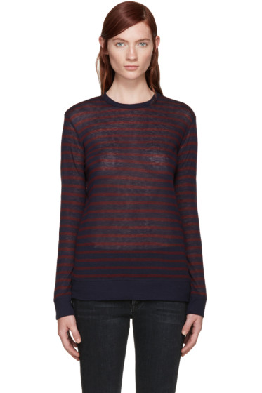 T by Alexander Wang - Burgundy & Navy Jersey T-Shirt