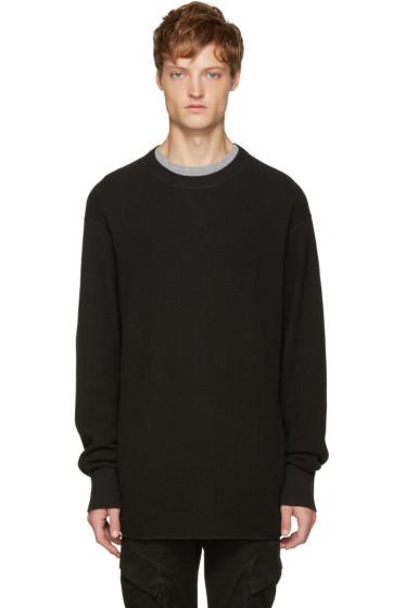 T by Alexander Wang - Black Waffle Knit T-Shirt