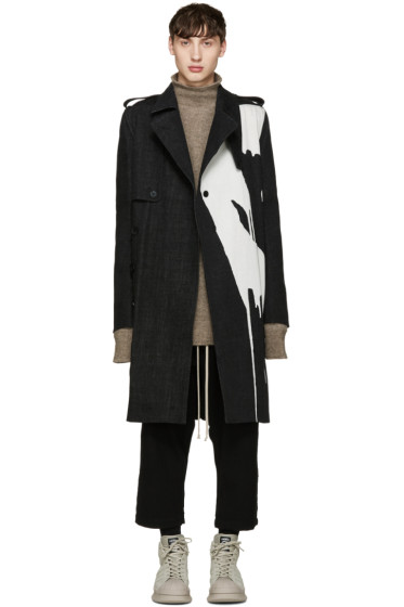 Rick Owens - Black Bleached Denim Trench Coat