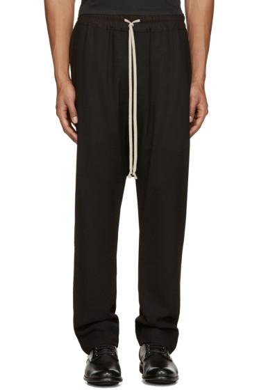 Rick Owens - Black Wool Mesh Lounge Pants
